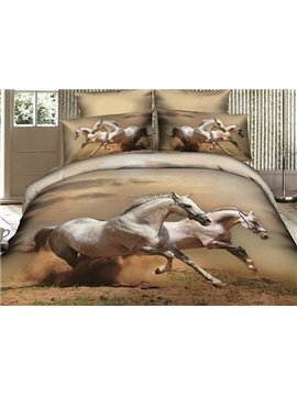 White Horses Lifelike Print 4 Piece Cotton Bedding sets