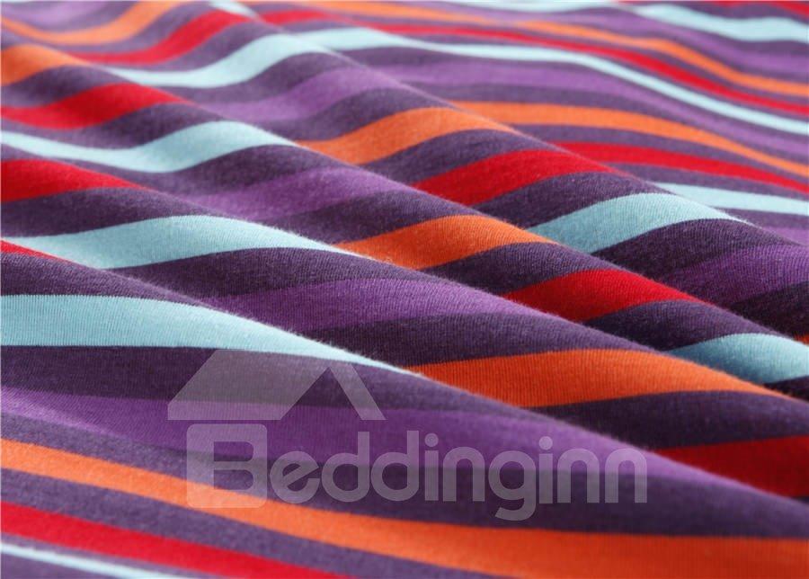 Unique Pure Cotton Knitting Stripes 4 Piece Bedding Sets