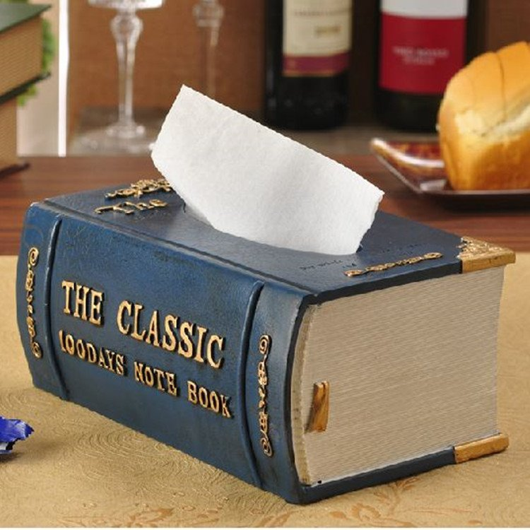 New Style Noble Vintage Book Shape Resin Tissue Box