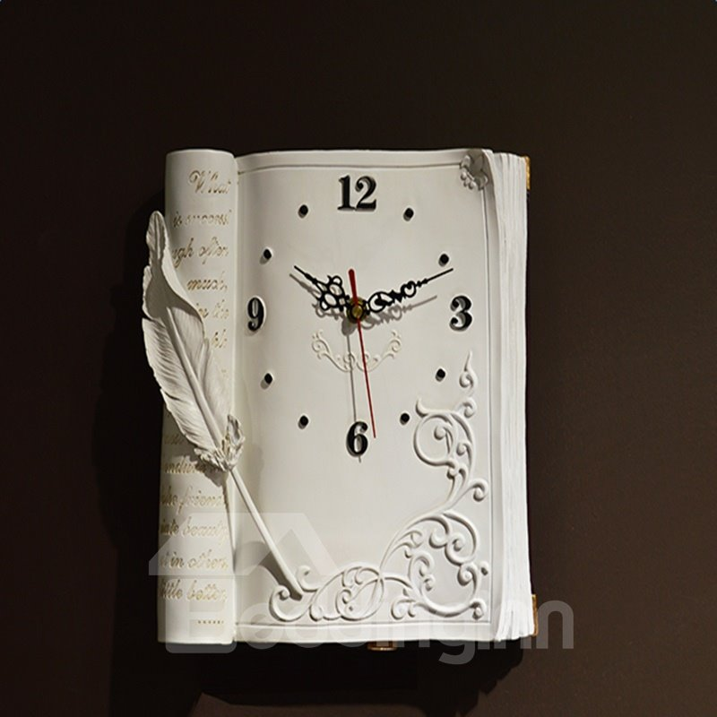 Image For New Style Creative Texture Retro Book Style Mute Resin Clock
