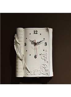 New Style Creative Texture Retro Book Style Mute Resin Clock
