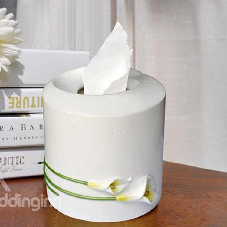New Arrival Simple and Elegant Pastoral Resin Fine Handiwork Calla Tissue Box