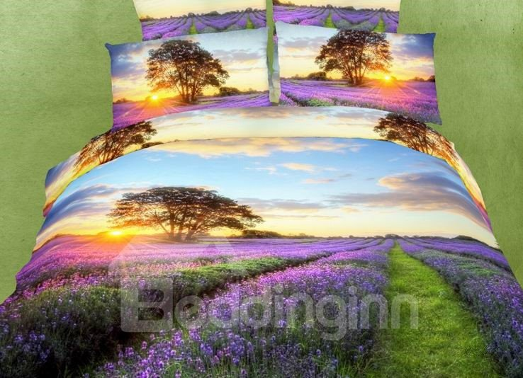 Romantic Lavender with Sunset Scene 4 Piece Bedding Sets