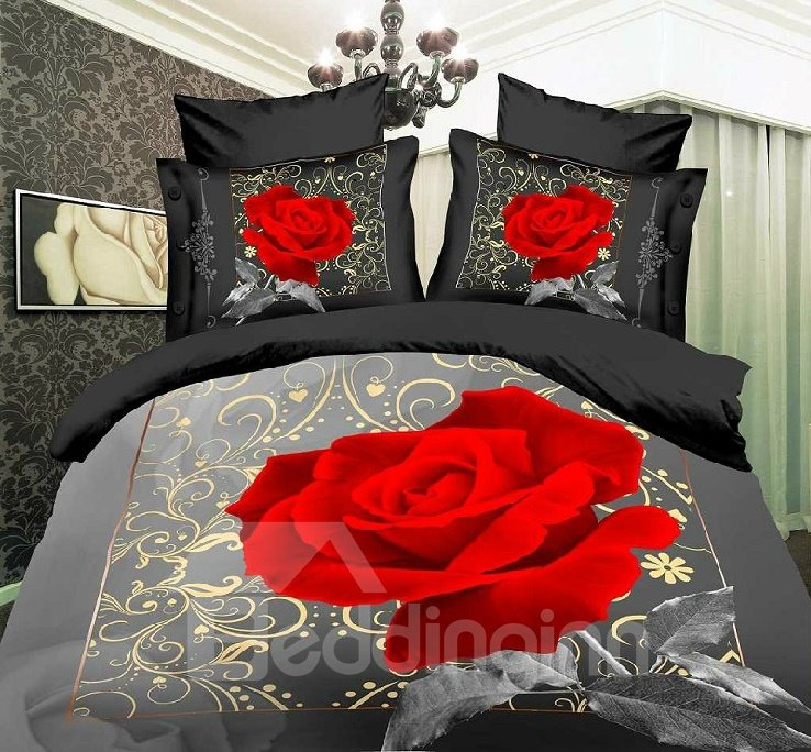 Image For 3D Blooming Red Rose Printed Cotton 4-Piece Grey Bedding Sets/Duvet Cover