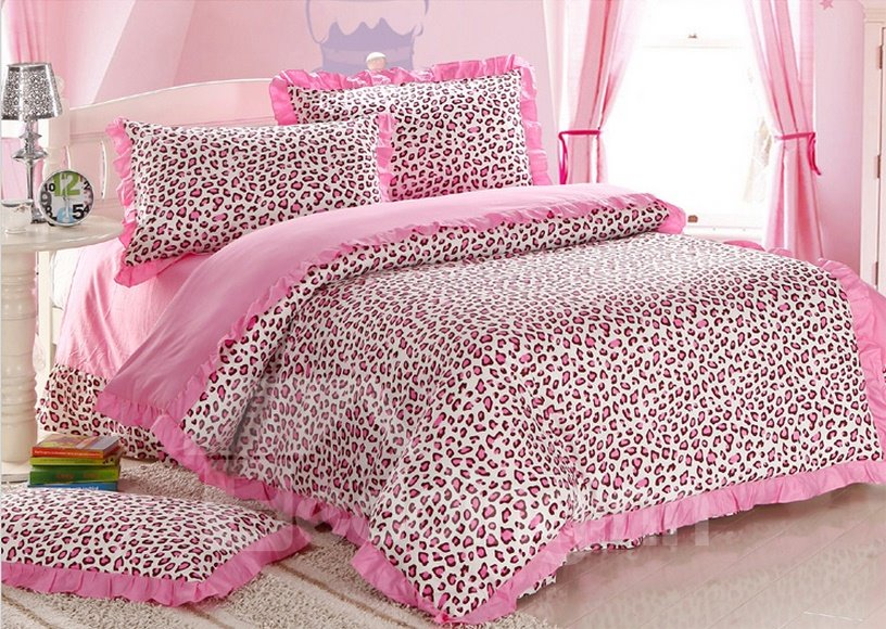 pink leopard print bedroom pink leopard print 4 bedding sets duvet cover 16749