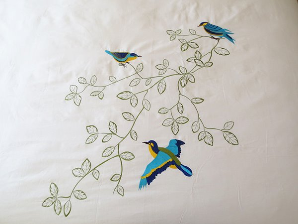 Blue Bird Printed Handmade Embroidery Cotton 4-Piece Bedding Set/Duvet Cover