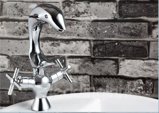 Amazing Dolphin Shape Pure Brass 2-Handle Bathroom Faucet