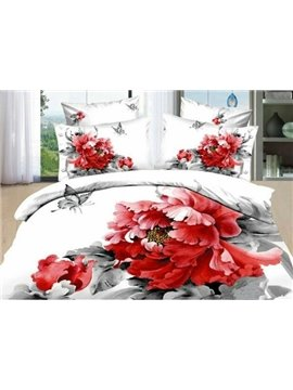 New Arrival High Quality 100% Cotton Peony Rose Butterfly 4 Piece Bedding Sets