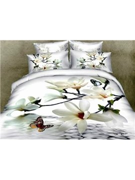 New Arrival High Quality Ink Printing Begonia Flower Butterfly 4 Piece Bedding Sets