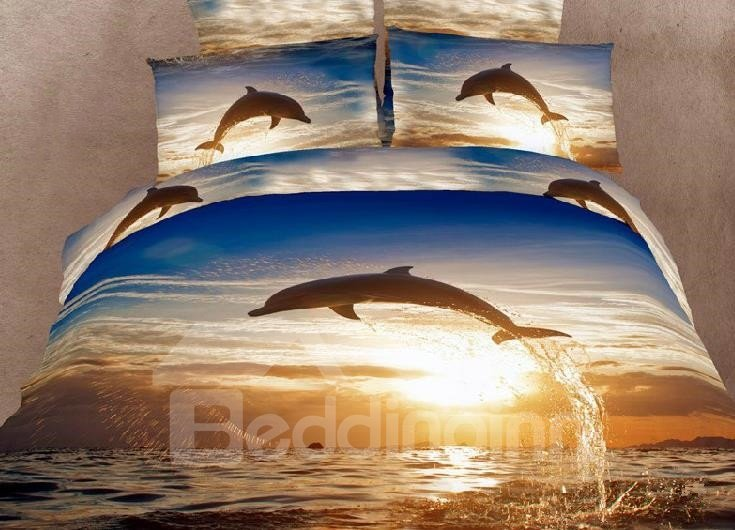New Arrival High Quality 100% Cotton Reactive Printing Dolphins