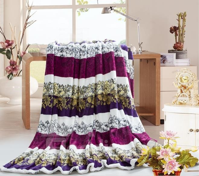 Fashionable Purple Vines Pattern Air Conditioning Thick Flannel Blanket