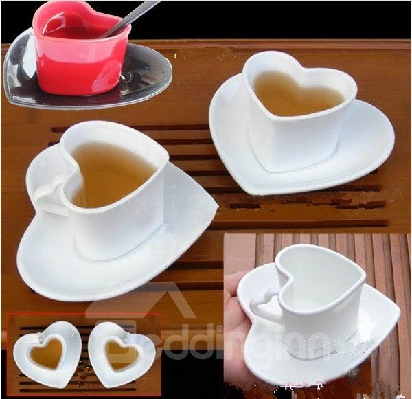 Amazing Red Ceramic Heart Shape Coffee Tea Cup