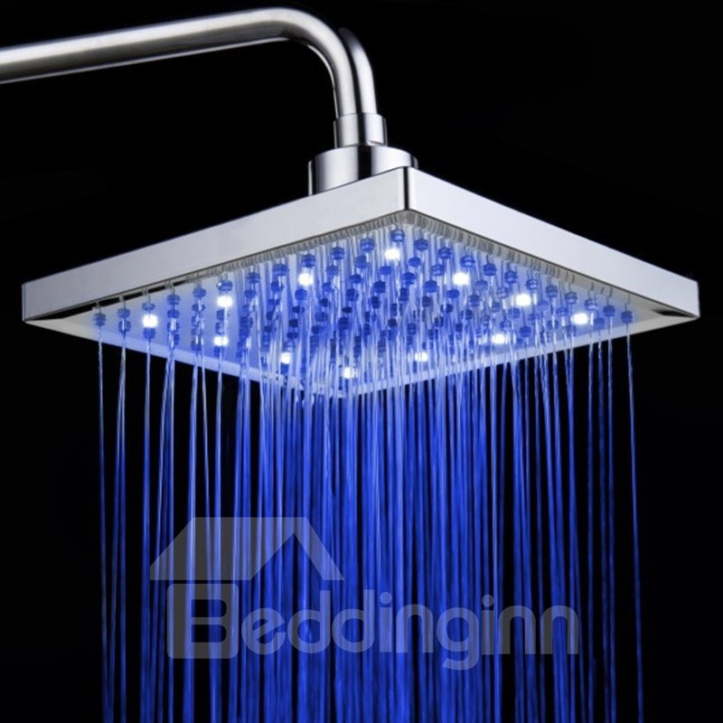 8 Inches Temperature Control LED Changing Color Pure Copper Shower Head faucet