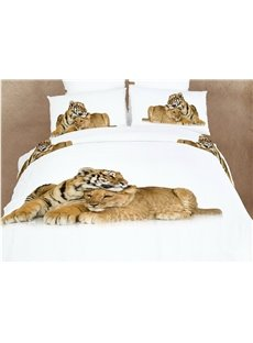 Heart-Warming Lion and Tiger Print 4 Piece Bedding Sets/Duvet Cover Sets