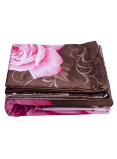 100% Cotton Lifelike Pink Rose Print 4-Piece Duvet Cover Sets