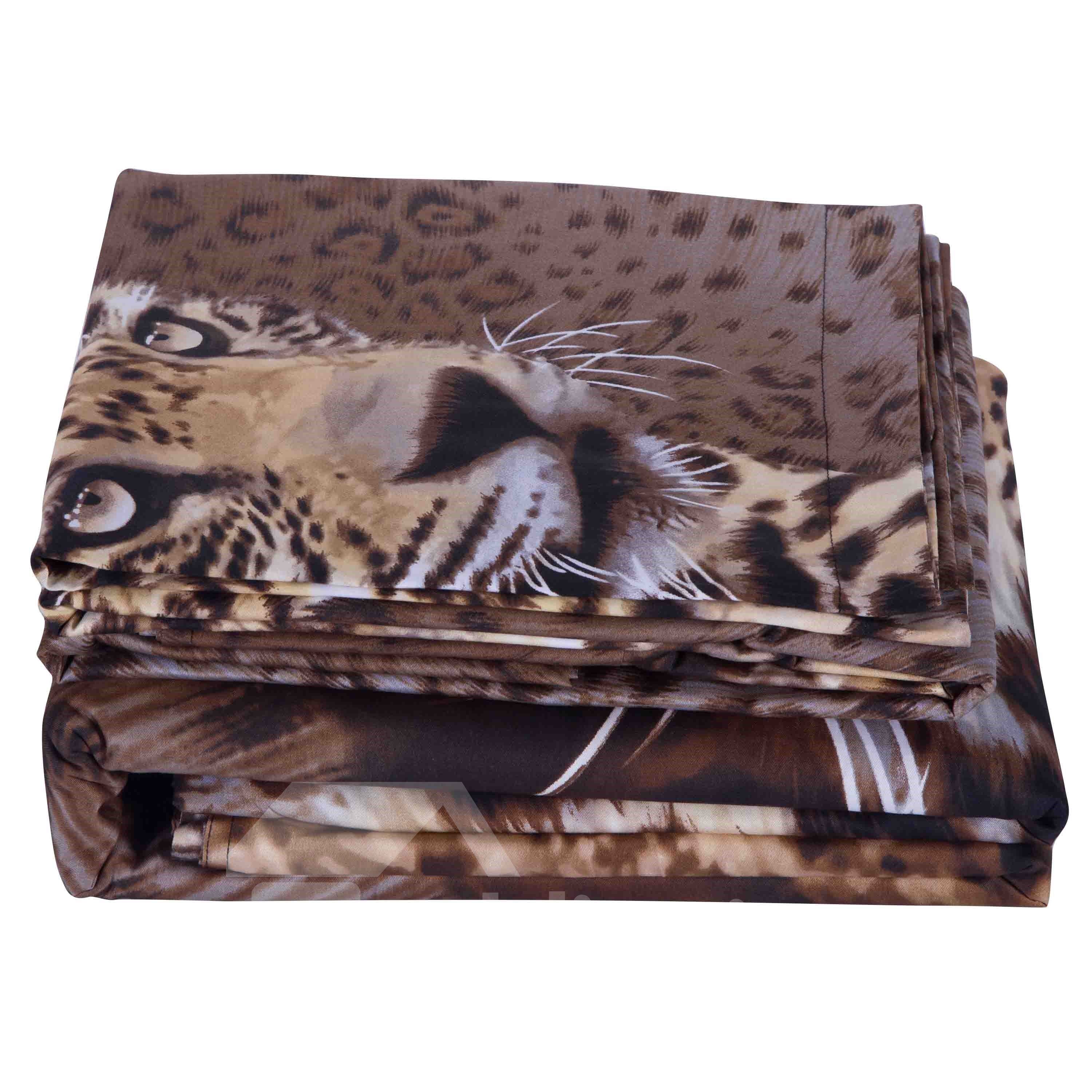 3D Leopard Animal Printed Cotton 4-Piece Bedding Sets/Duvet Covers