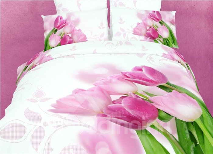 3D Pink Tulips Printed Cotton 4-Piece White Bedding Sets/Duvet Covers