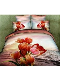 3D 100% Cotton Sunset Flower 4 Piece Bedding Sets/Duvet Cover Sets