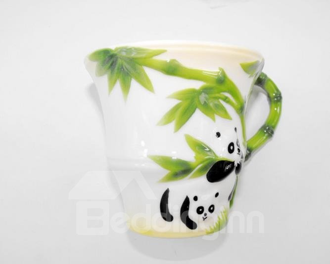 Unique Design Cute Panda and Bamboo Pattern Coffee Cup Set