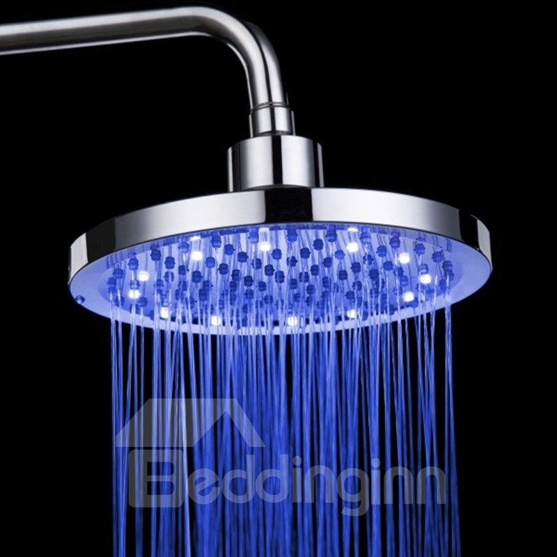 8 Inches Round LED Changing Color Pure Copper Shower Head faucet
