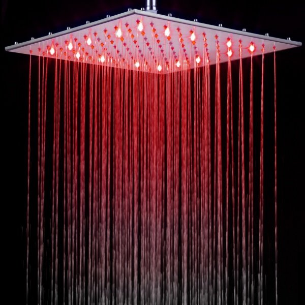 Luxury 16 Inches New Arrival LED Rainfall Shower Head Faucet Changing Colors by Temperature