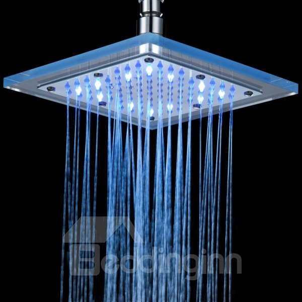 New 8 Inches LED Changing Color Pure Copper Shower Head Faucet