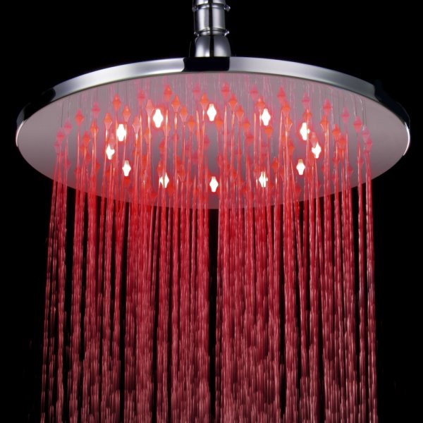 Fashion 10 Inches LED Changing Color Pure Copper Shower Head faucet