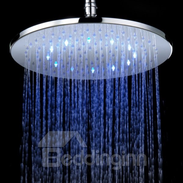 Fashion 12 Inches LED Changing Color Pure Copper Shower Head Faucet