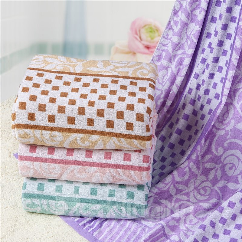New Arrival Top Class Cozy Skin Friendly Checked Towelling Coverlet