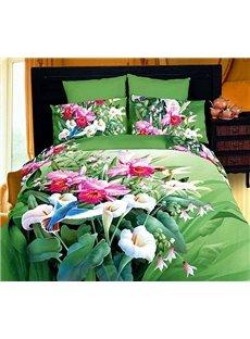 New Arrival Multicoloured Flowers 4 Piece Cotton Bedding Sets