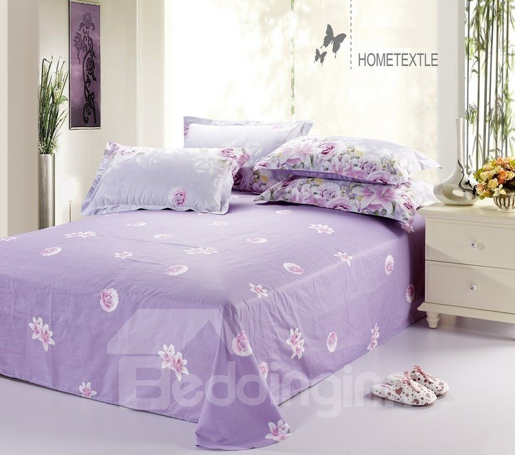 Sweet Rose and Lily Blossom 4-Piece Purple Cotton Bedding Sets/Duvet Cover
