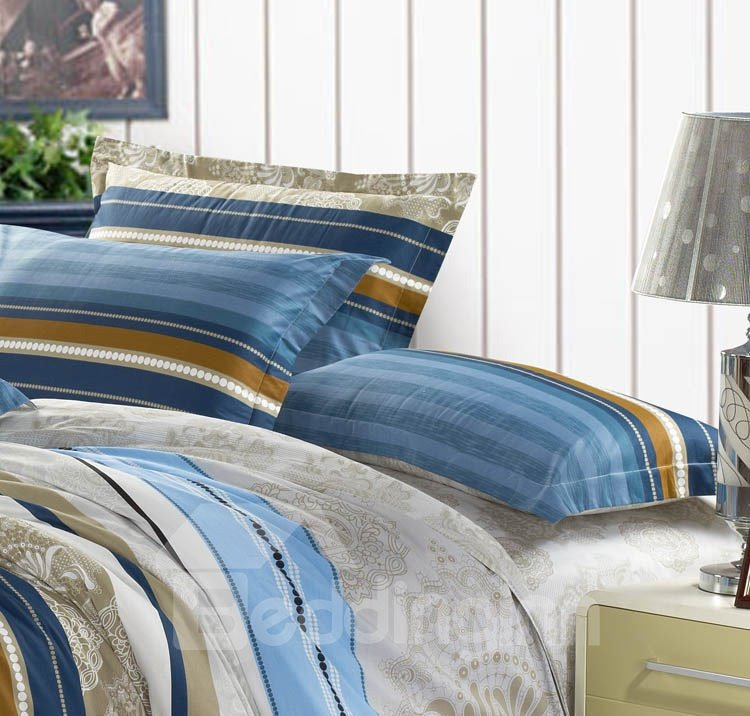 Blue Stripe Elegant Style Cotton 4-Piece Bedding Sets/Duvet Cover