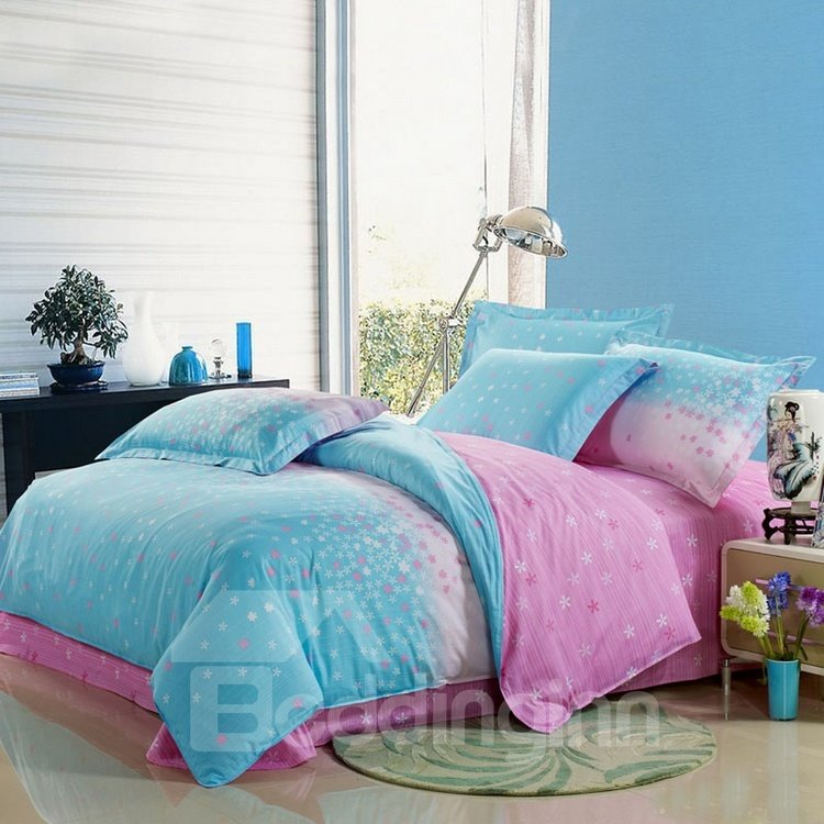 lovely light pink and blue 4 piece floral active print bedding sets. Black Bedroom Furniture Sets. Home Design Ideas