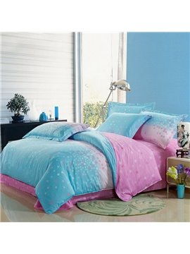 Lovely Light Pink and Blue 4 Piece Floral Active Print Bedding Sets