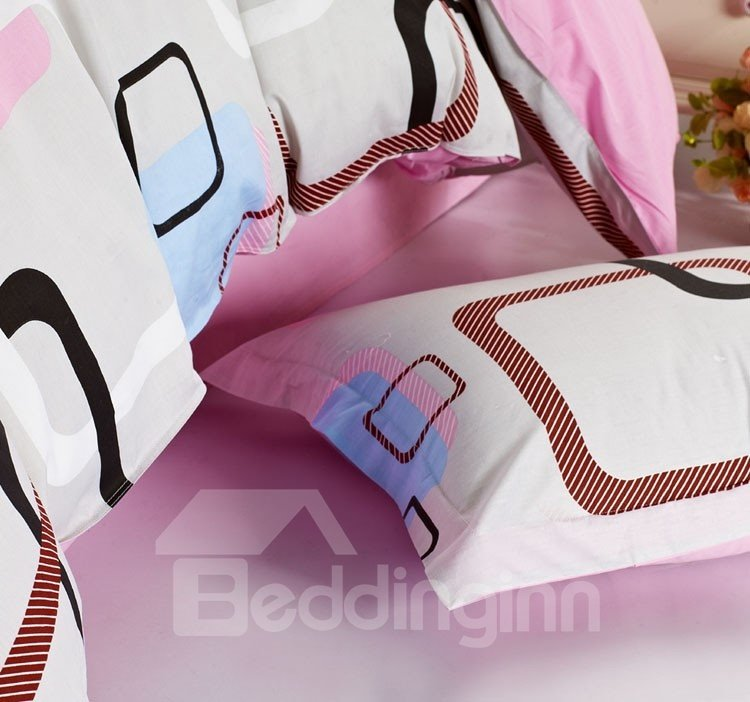 Classical Plaid Pink and Grey Cotton 4-Piece Bedding Sets/Duvet Cover