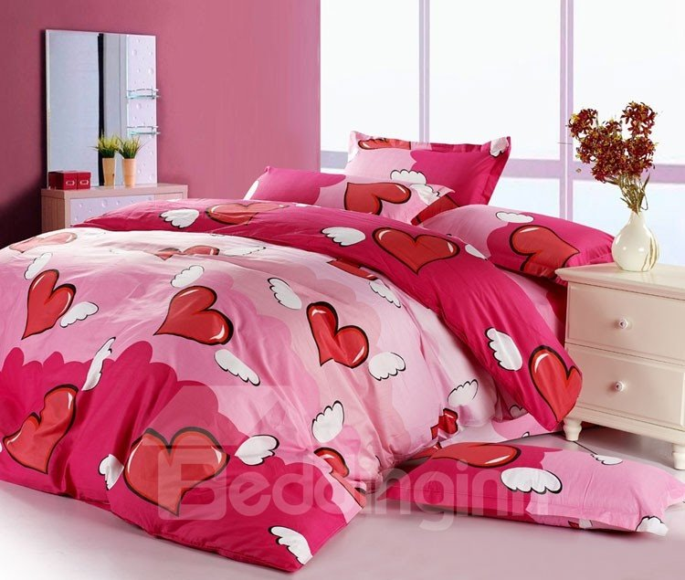 New Arrival Cute Heart Style Comfortable 4 Piece Bedding Sets