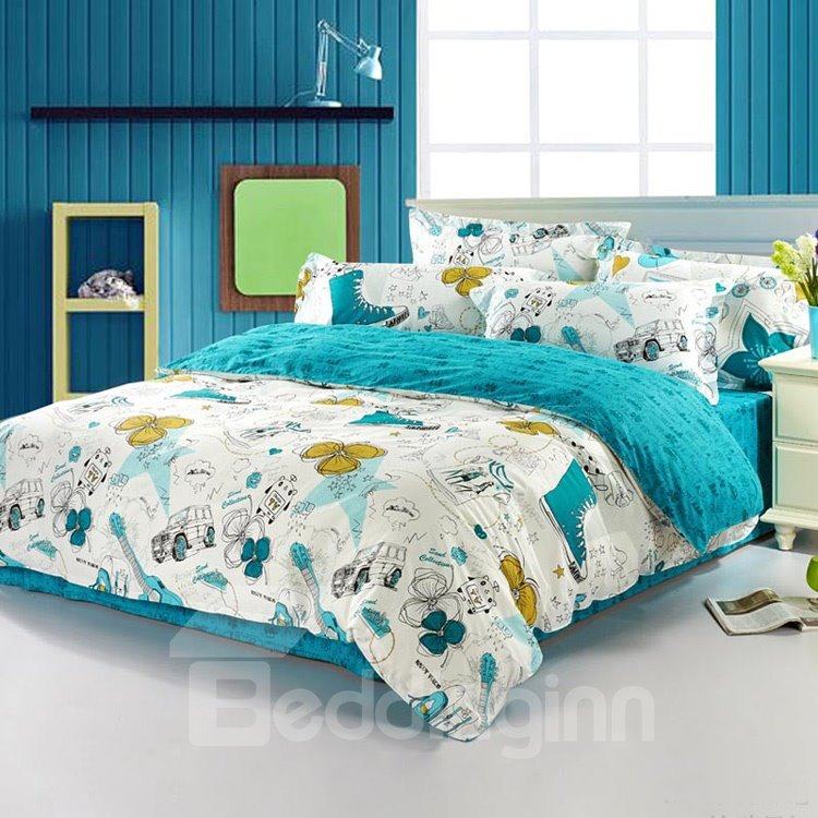 Fashionable Scrawl Print 100% Cotton 4 Piece Bedding Sets