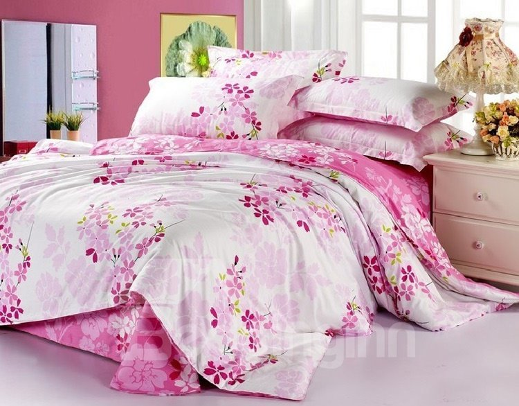 Best Selling Lovely Pink Flower Print 4 Piece Bedding Sets