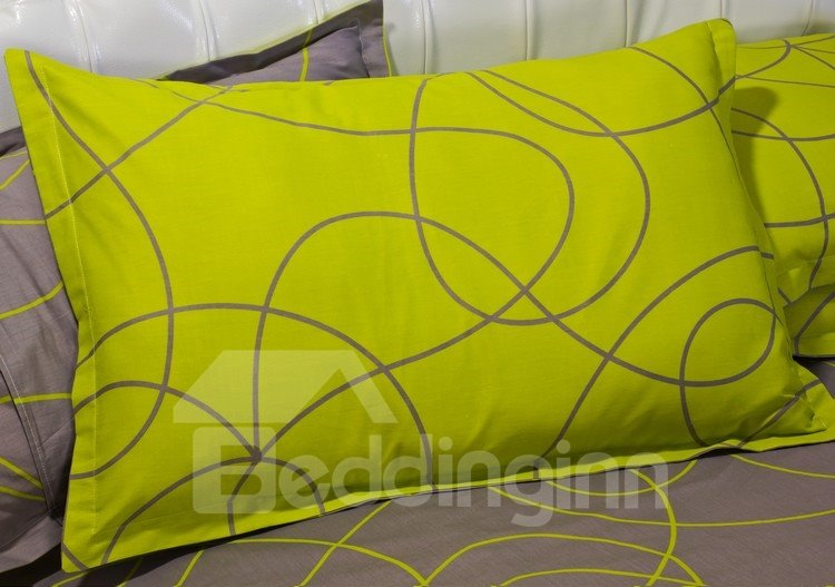 100% Cotton Green and Coffee Abstract Pattern 4 Piece Bedding Sets