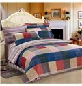 England Style with Plaid and Stripe 4-Piece Bedding Sets/Duvet Cover