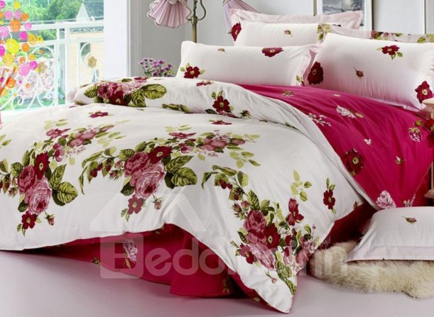 Elegant Wine Red Peony Pattern 4-Piece Bedding Sets/Duvet Cover