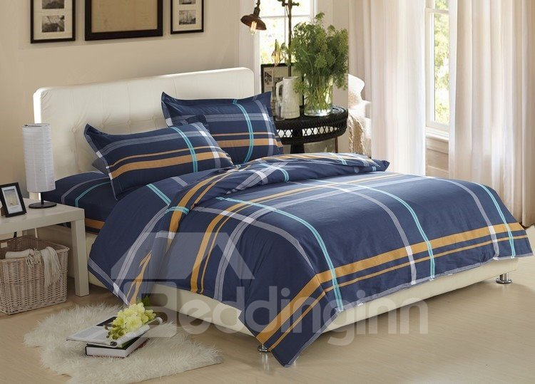 Gentle Stripe Print Dark Blue 100% Cotton 4 Piece Bedding Sets