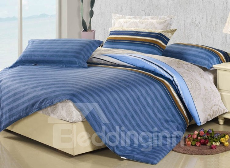Blue Stripe Elegant Style Fitted Sheet Cotton 4-Piece Bedding sets/Duvet Covers
