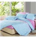 Lovely Light Pink and Blue 4 Piece Floral Active Print Fitted Sheet Bedding sets