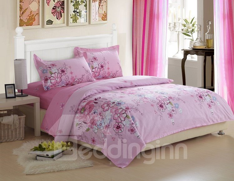 Best Selling 4 Piece Romantic Pink Floral Printed Fitted Sheet Bedding sets