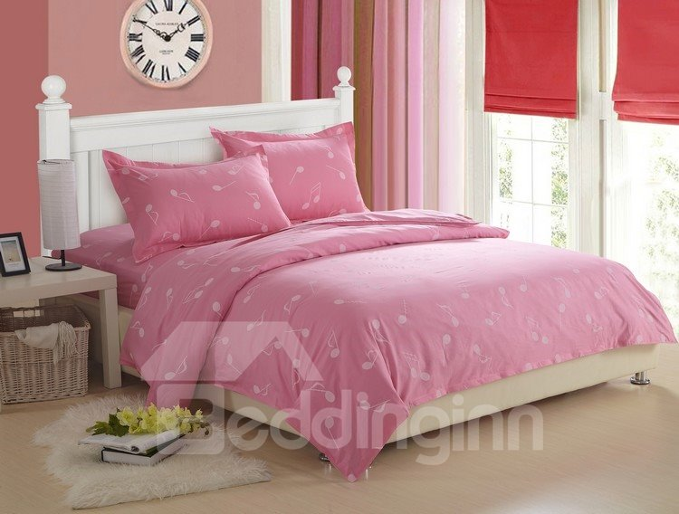 sweet 100 cotton music note print pink 4 piece fitted sheet bedding sets. Black Bedroom Furniture Sets. Home Design Ideas