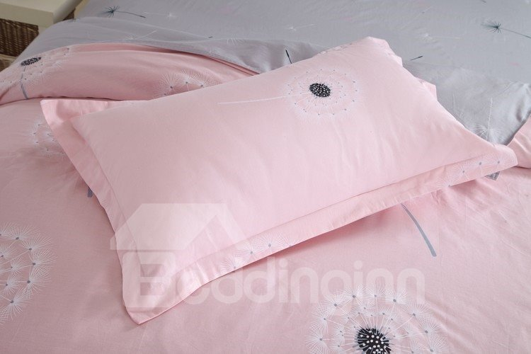 Dandelion Pattern Cotton 4-Piece Full Size Pink Duvet Covers/Bedding sets