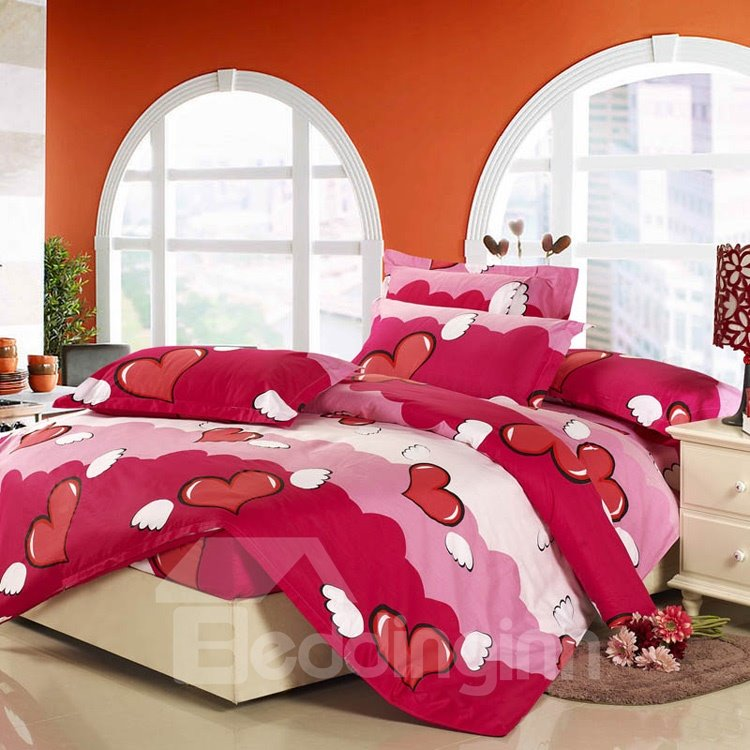New Arrival Cute Heart Style Comfortable 4 Piece Discount Bedding sets With Fitted Sheet