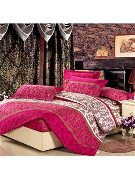 Luxurious Jacobean Reactive Printing 4-Piece Cotton Duvet Cover