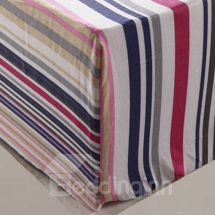 England Style with Plaid and Stripe 4 Piece Discount Bedding sets With Fitted Sheet